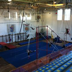 """<b>Circus Center—</b>San Francisco's circus school at 755 Frederick Street is likely the only establishment in the city where you'll find """"juggling, teeterboard, wire-walking... and anything in the air, upside down,backwards, and seemingly impossible"""" on"""