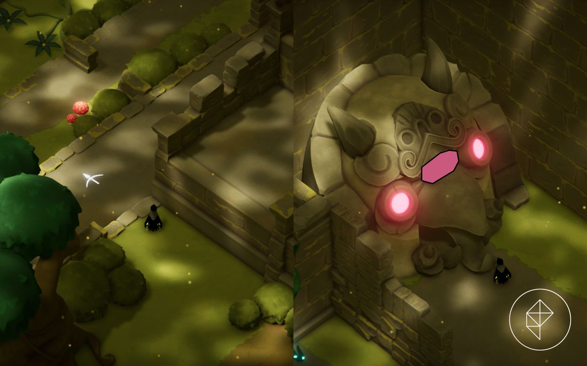 A split map showing a cliff ledge on the left and a magic shrine on the right.