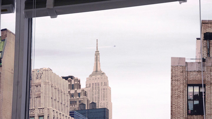 A plane flies over Manhattan in the latest Mad Men.