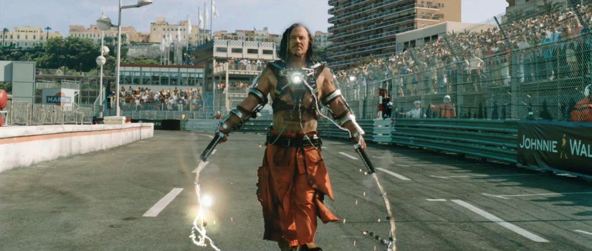 whiplash shakes his whips in iron man 2