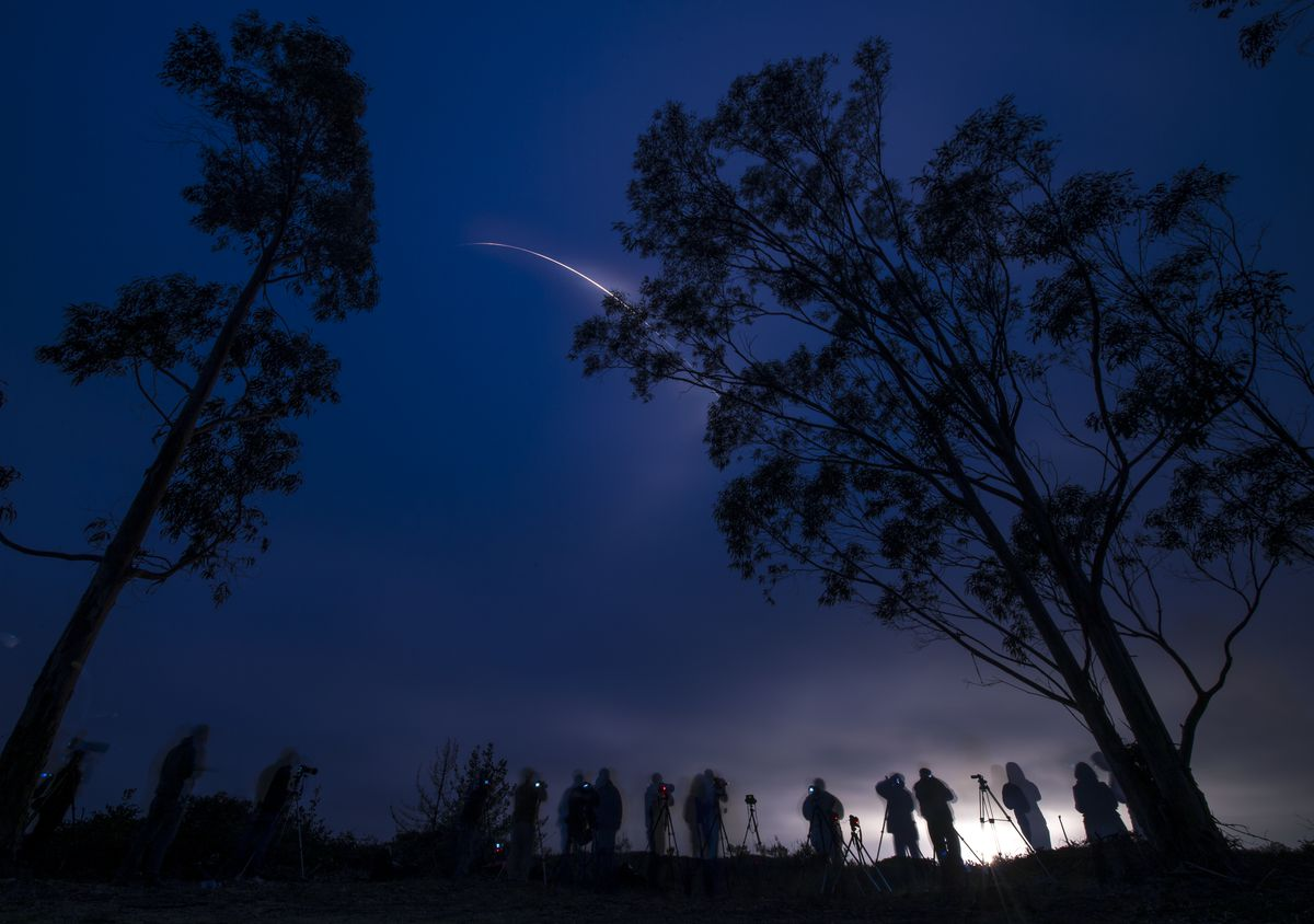 <small><strong>A United Launch Alliance Delta II rocket with the Soil Moisture Active Passive (SMAP) observatory onboard is seen in this long exposure photograph as it launches from Space Launch Complex 2, Saturday, Jan. 31, 2015, Vandenberg Air Force Bas