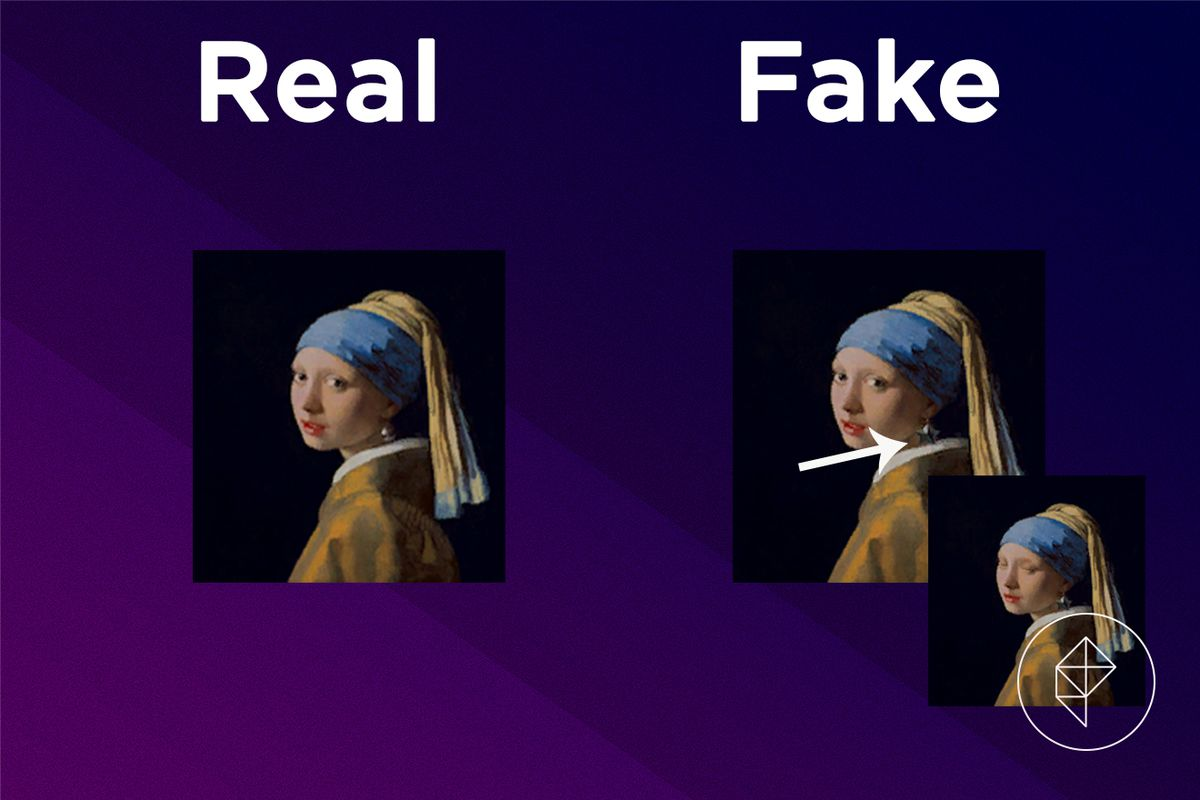 A comparison image showing what the fake Wistful Painting looks like
