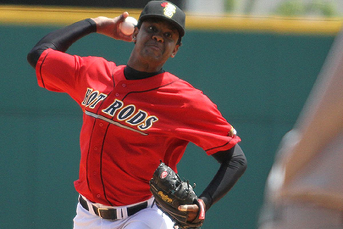 Tampa Bay Rays pitching prospect Victor Mateo (Photo by Megan Stearman Photography, courtesy Bowling Green Hot Rods)