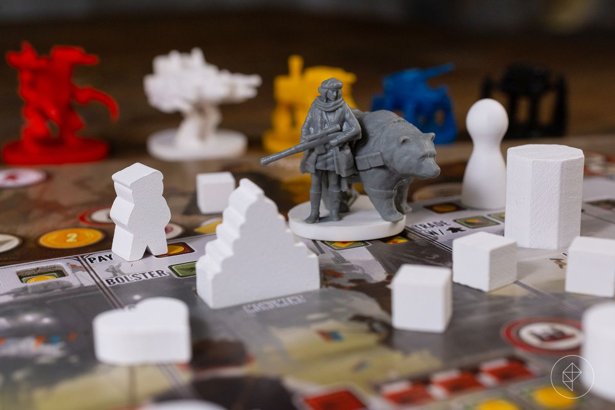 Anna and her bear, Mische, patrol the factories and monuments along the sideboard in Scythe.