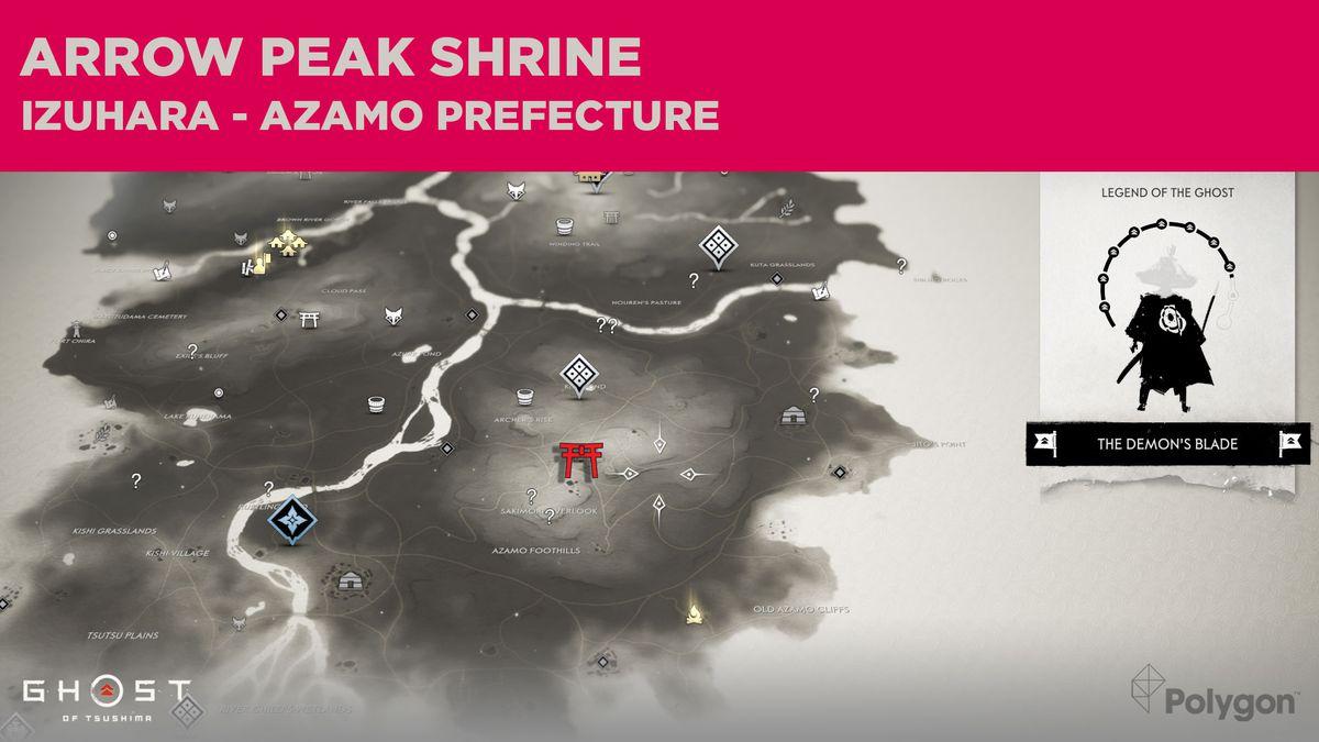 The location of Arrow Peak Shrine in Ghost of Tsushima
