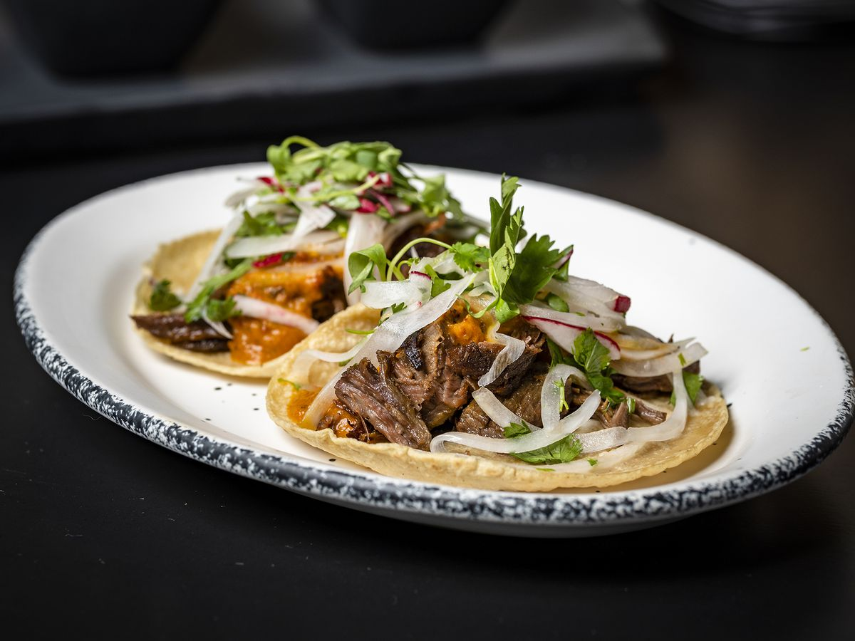 Two meat tacos on a plate