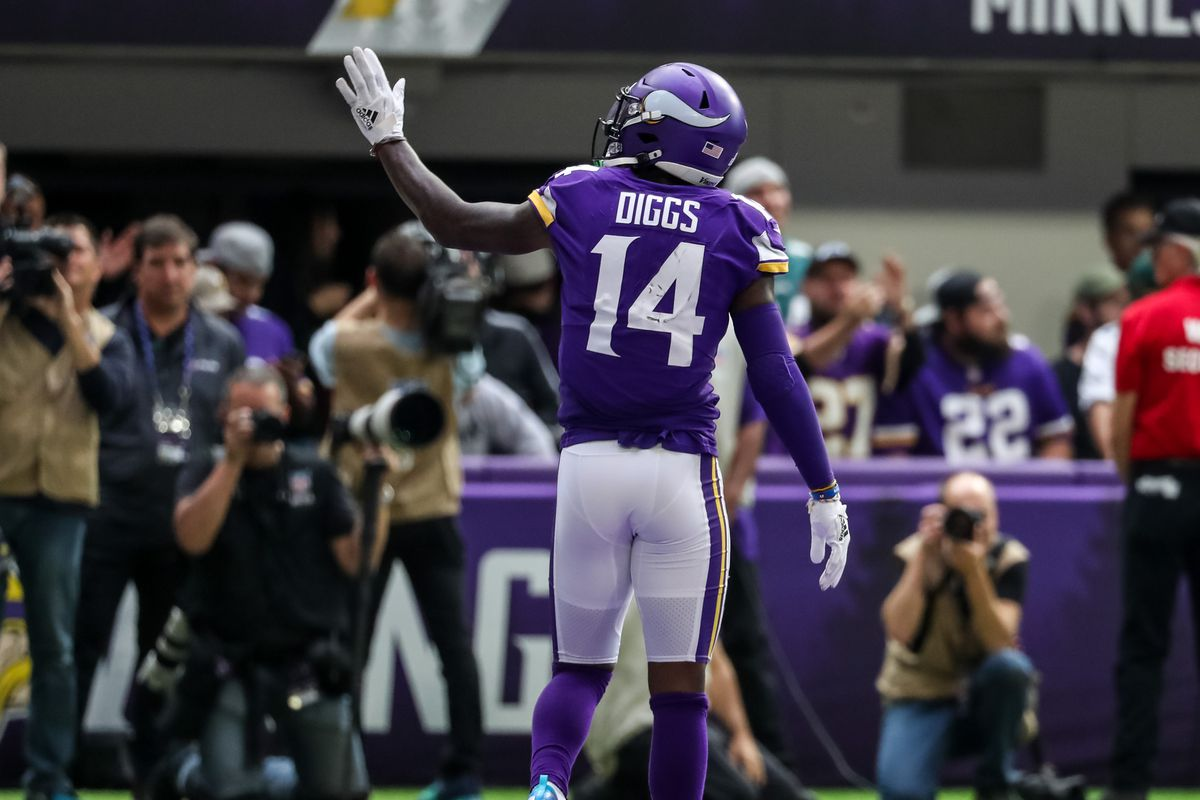 Minnesota Vikings wide receiver Stefon Diggs celebrates his touchdown during the third quarter against the Philadelphia Eagles at U.S. Bank Stadium.