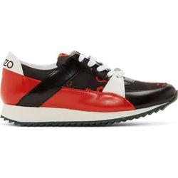 "<b>Kenzo</b> sneakers, <a href=""https://www.ssense.com/women/product/kenzo/black-red-monster-sneakers/114706"">$168</a>"