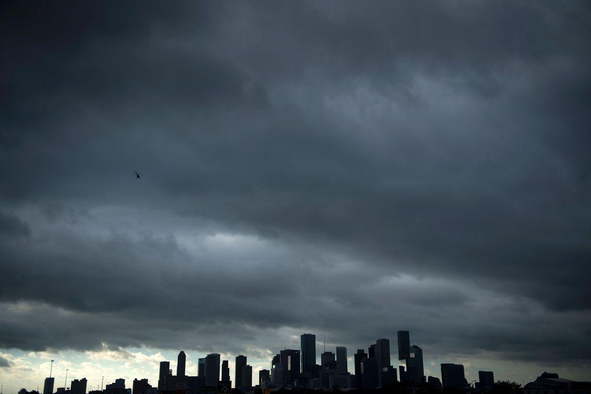 Houston skyline with dark clouds