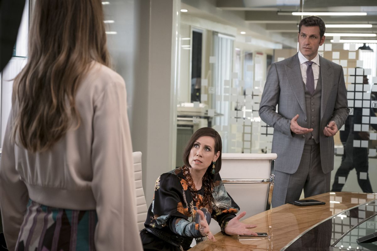 Miriam Shor in a Givenchy geode necklace as Diana Trout in Younger.