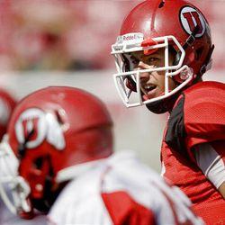 Utes quarterback freshman Jordan Wynn at the final Ute preseason scrimmage at Rice-Eccles Stadium in Salt Lake City Saturday.