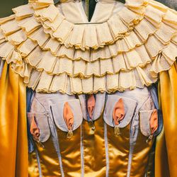 The top for Mother Ginger—which is always performed by a man—demands a rather substantial built-in bust. The wearer must go on stage with in an 85-pound costume and a nine-foot-wide hoop skirt that takes three people to secure—all while wearing stilts.