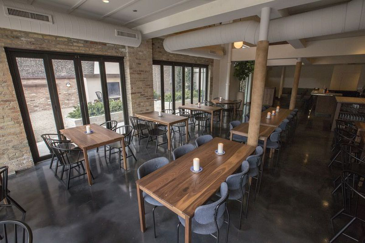A restaurant's rustic dining room.