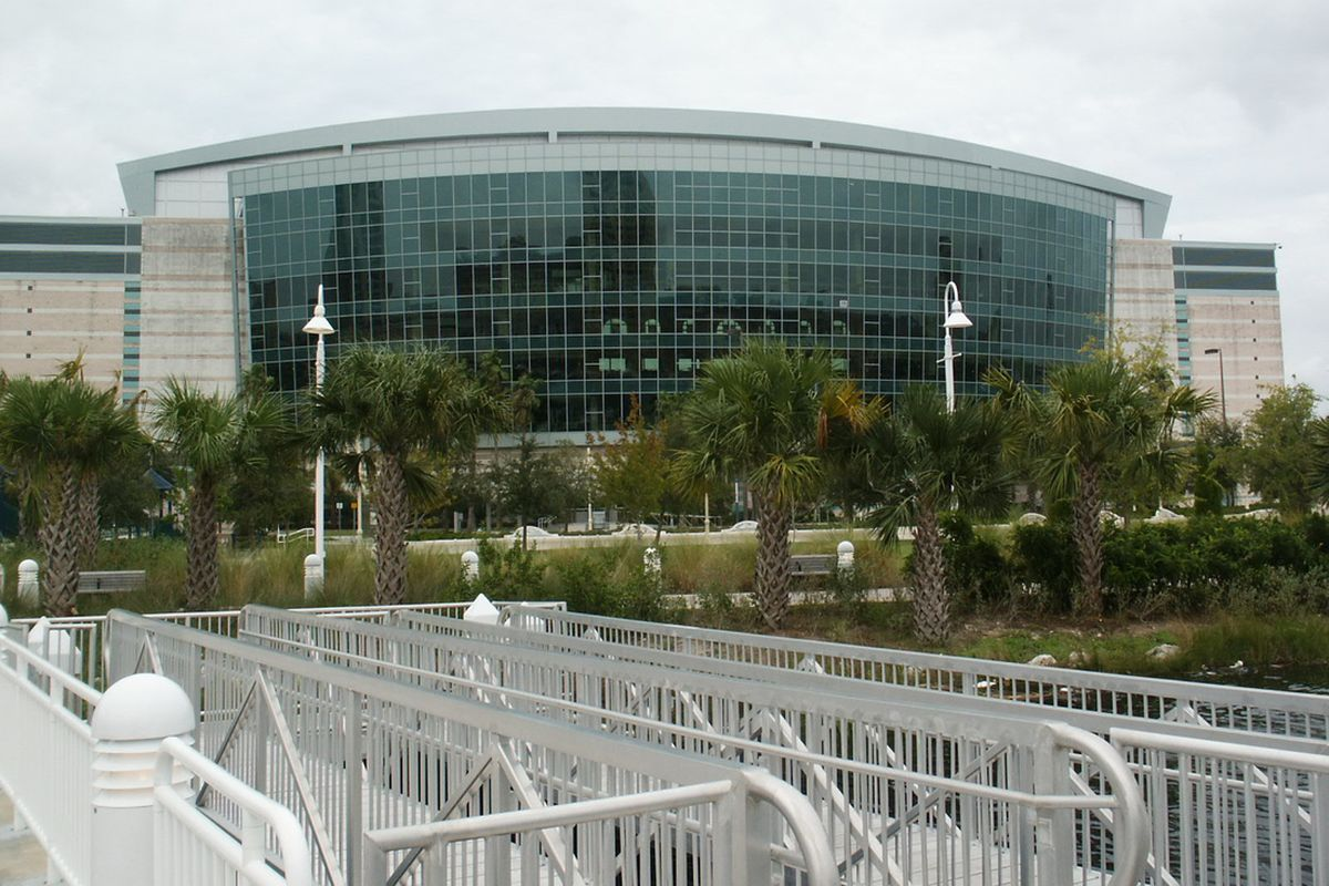 A 2004 photo of the Tampa Bay Times Forum as seen from Ft. Brooke Park (photo by Bill Erickson, used with permission)