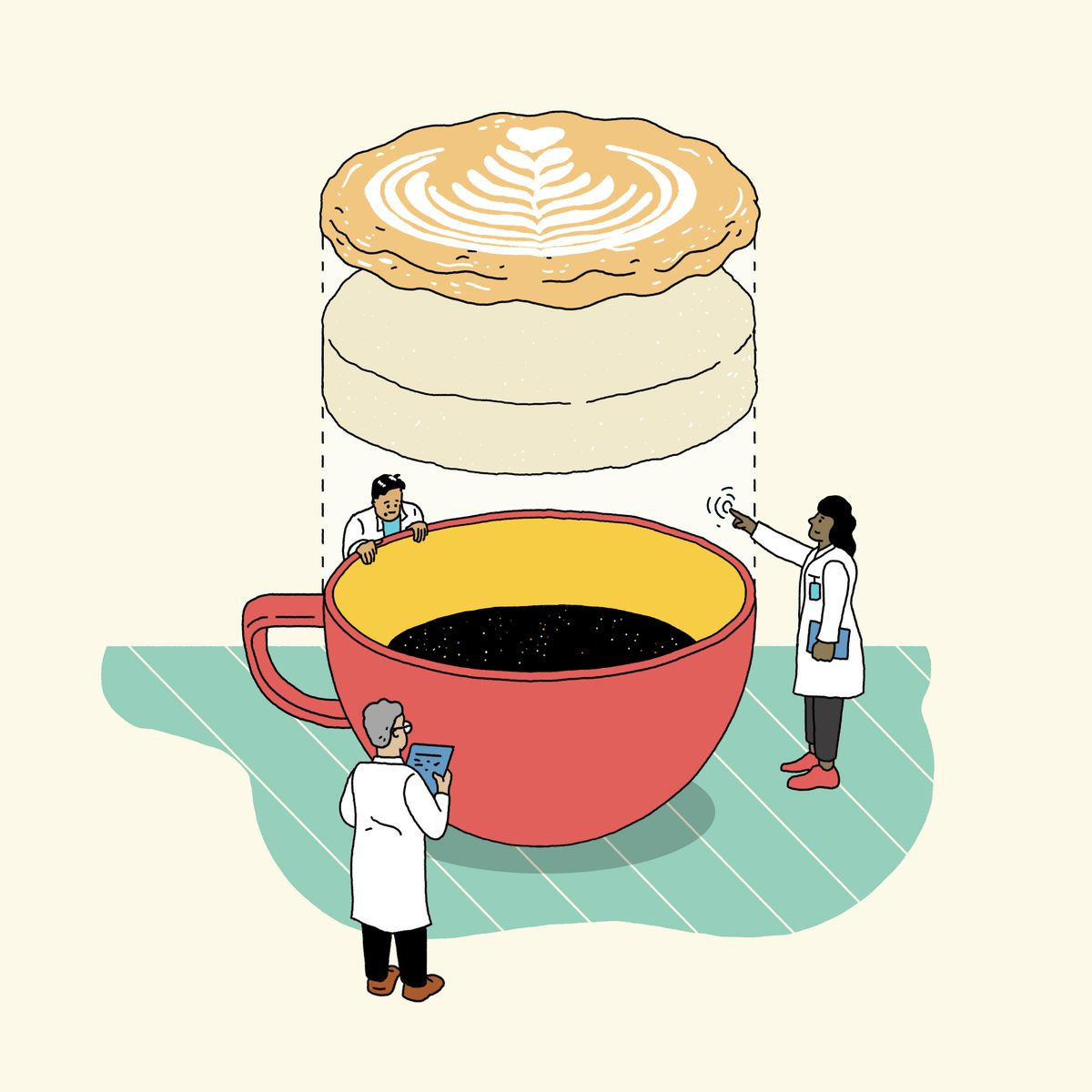 An illustration of a flat white coming together