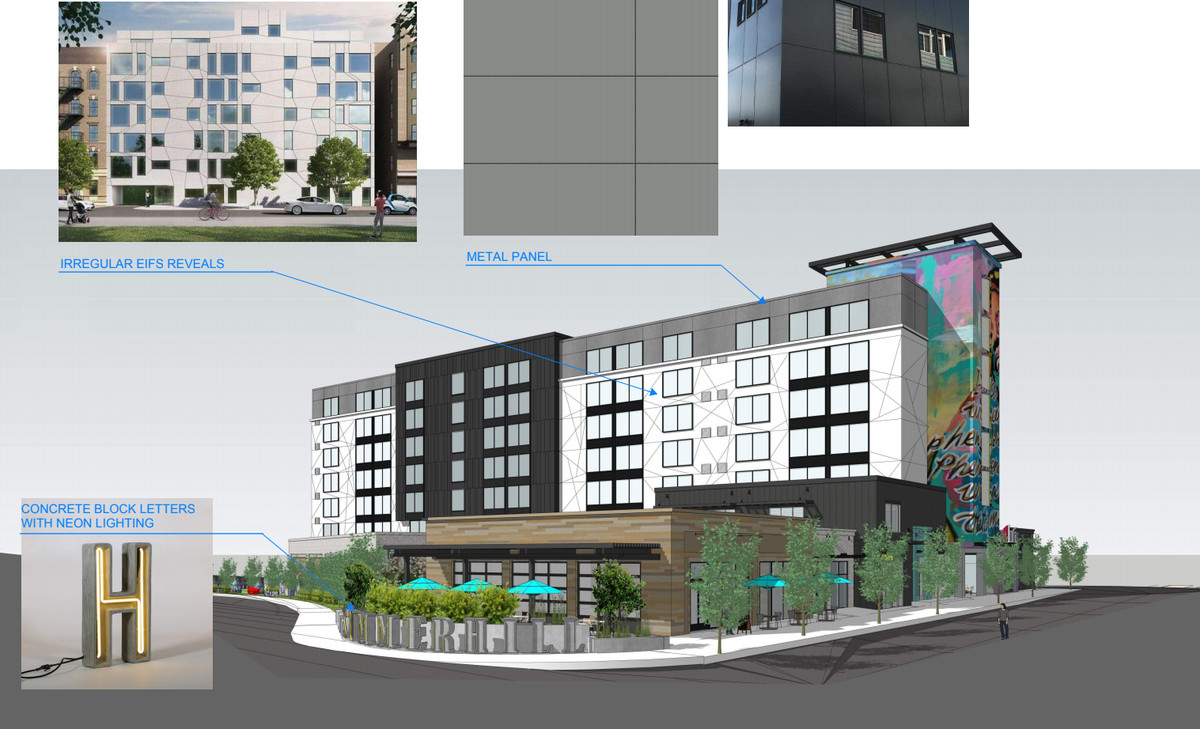A rendering shows a black, white, and grey hotel decorated with public art.