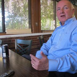 Republican U.S. Senate candidate Pete Hoekstra discusses campaign strategy during an Associated Press interview on Monday, Sept. 24, 2012, in Elk Rapids, Mich.