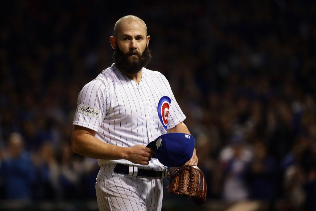 CHICAGO, IL – OCTOBER 18: Jake Arrieta #49 of the Chicago Cubs walks off the field after being relieved in the seventh inning against the Los Angeles Dodgers during game four of the National League Championship Series at Wrigley Field on October 18, 2017
