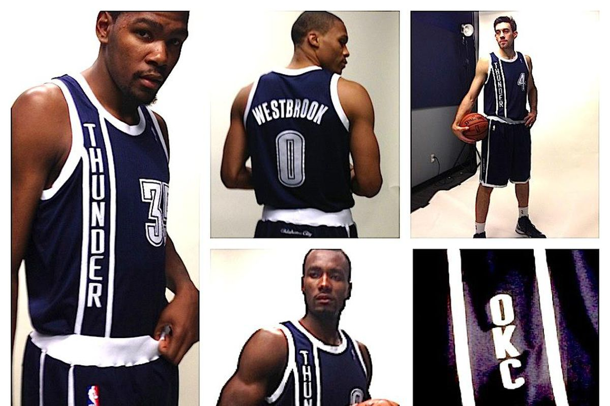Fast Fact: Durant and Collison have modeled for every Thunder jersey unveiling, of which there are two.