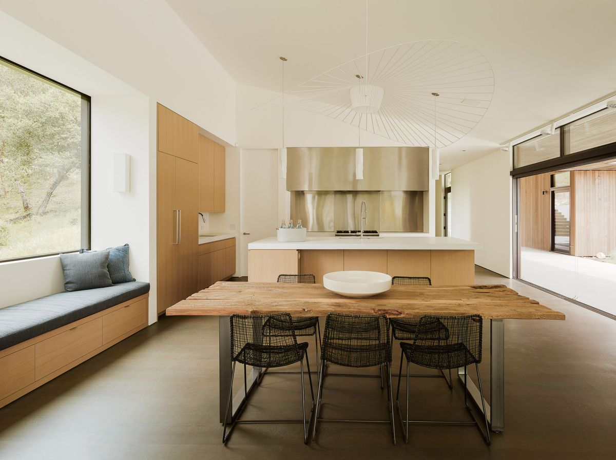 Kitchen with wood table