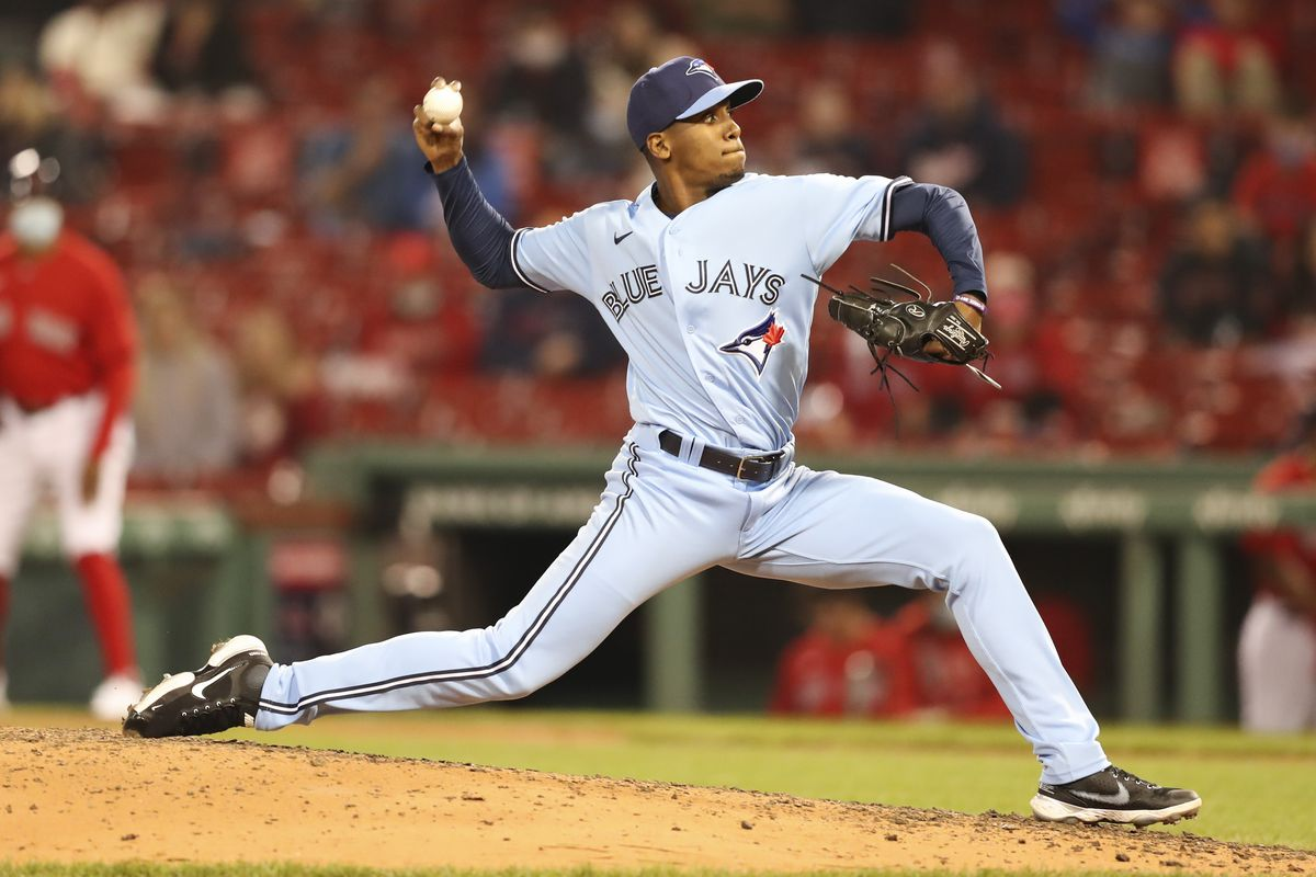 Anthony Castro #63 of the Toronto Blue Jays pitches in the seventh. Inning of a game against the Boston Red Sox at Fenway Park on April 20, 2021 in Boston, Massachusetts.