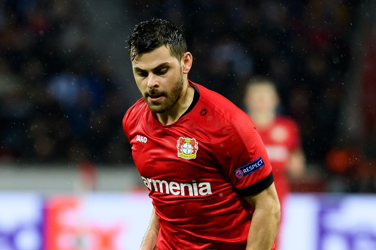 Kevin Volland of Bayer 04 Leverkusen controls the ball during the UEFA Europa League round of 32 first leg match between Bayer 04 Leverkusen and FC Porto at BayArena on February 20, 2020 in Leverkusen, Germany.