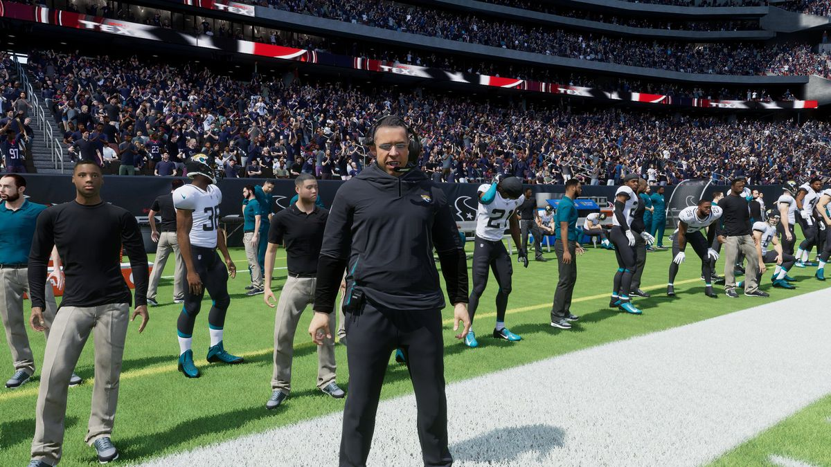 A placeholder for Jaguar's head coach Urban Meyer on the sidelines in EA's Madden NFL 22