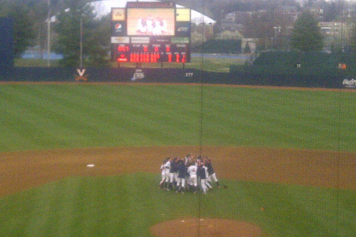 The boys celebrate yesterday after the final out in Will Roberts Perfect Game. Courtesy of @mrg7175