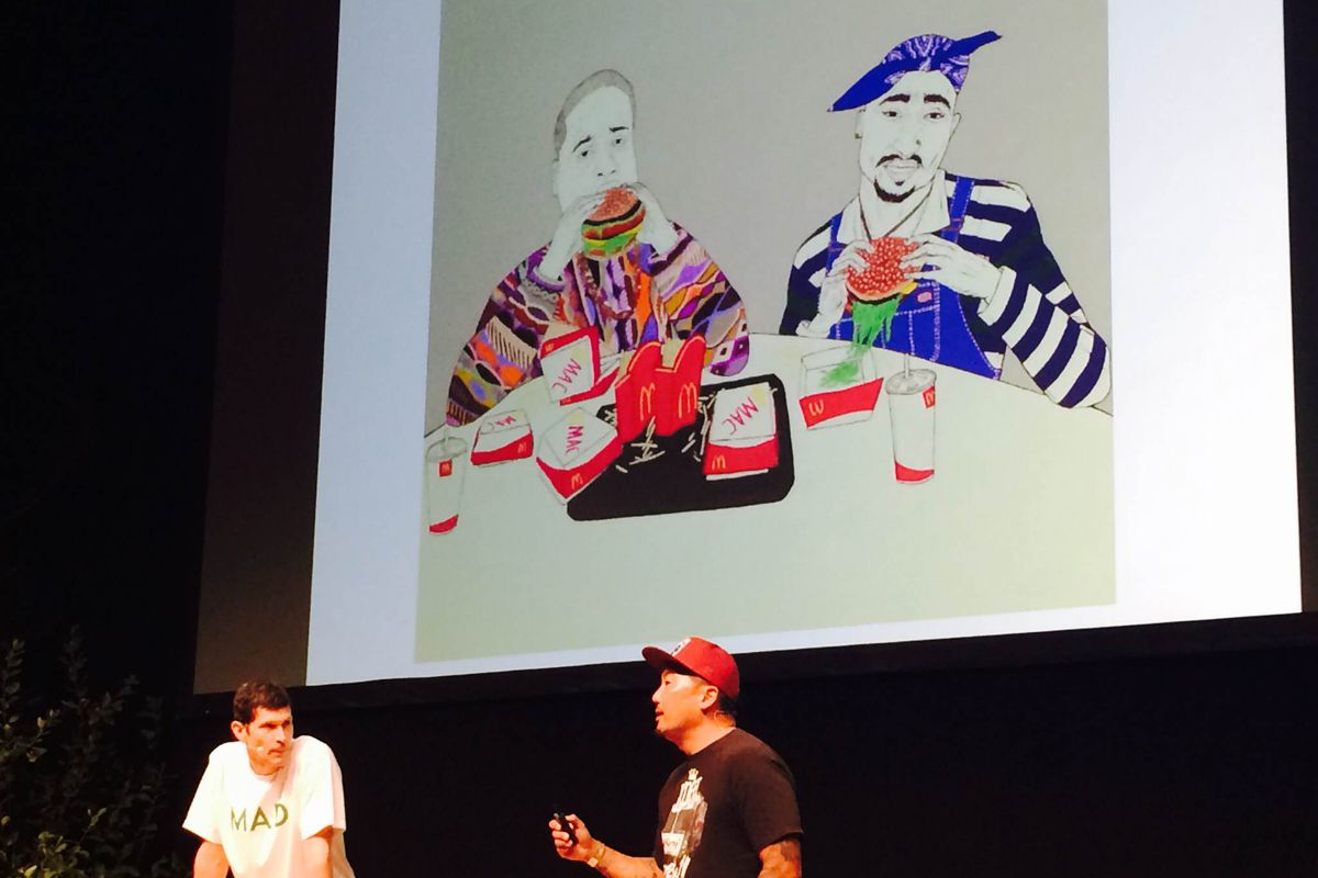 Chefs Daniel Patterson and Roy Choi on stage at MAD