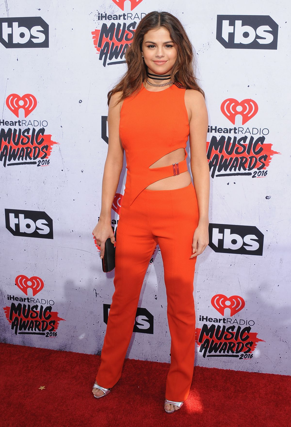 Selena Gomez in a Mugler jumpsuit at the 2016 iHeartRadio Music Awards.