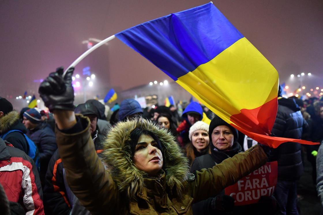 Protester in Romania