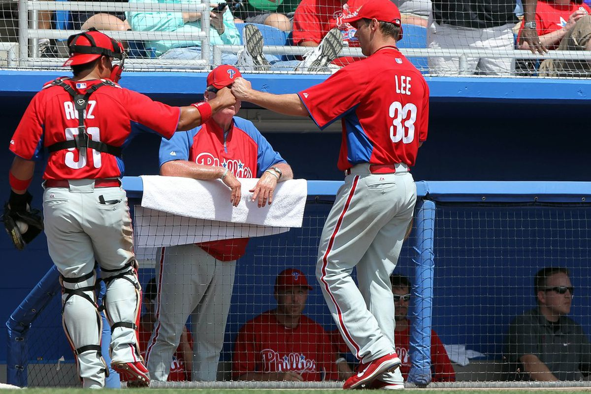 How many times will Charlie Manuel be punched in the face by his own players? Mandatory Credit: Kim Klement-US PRESSWIRE
