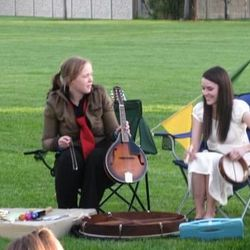 The cast not only provide the orchestra, but also any sound effects used in the play. Shown are cast members Jessamyn Svensson, left, and Aubrey Bench.
