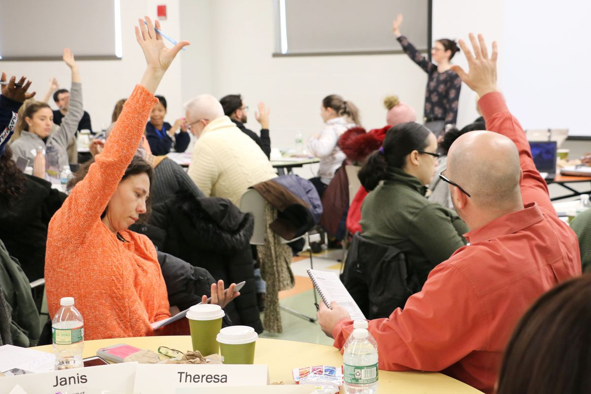 Newark teachers at a training in January.