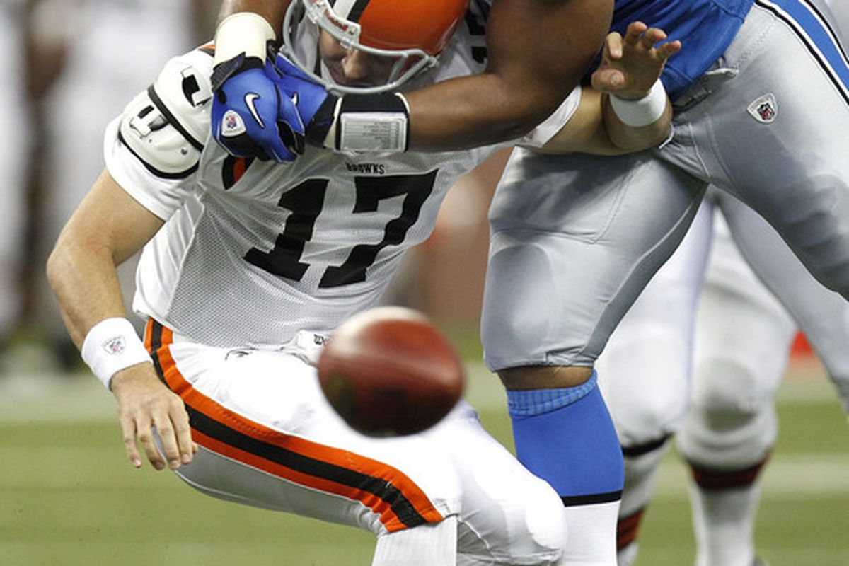 DETROIT - AUGUST 28:  Ndamukong Suh #90 of the Detroit Lions tackles Jake Delhomme. Suh will get to showcase his skills on MNF this week.