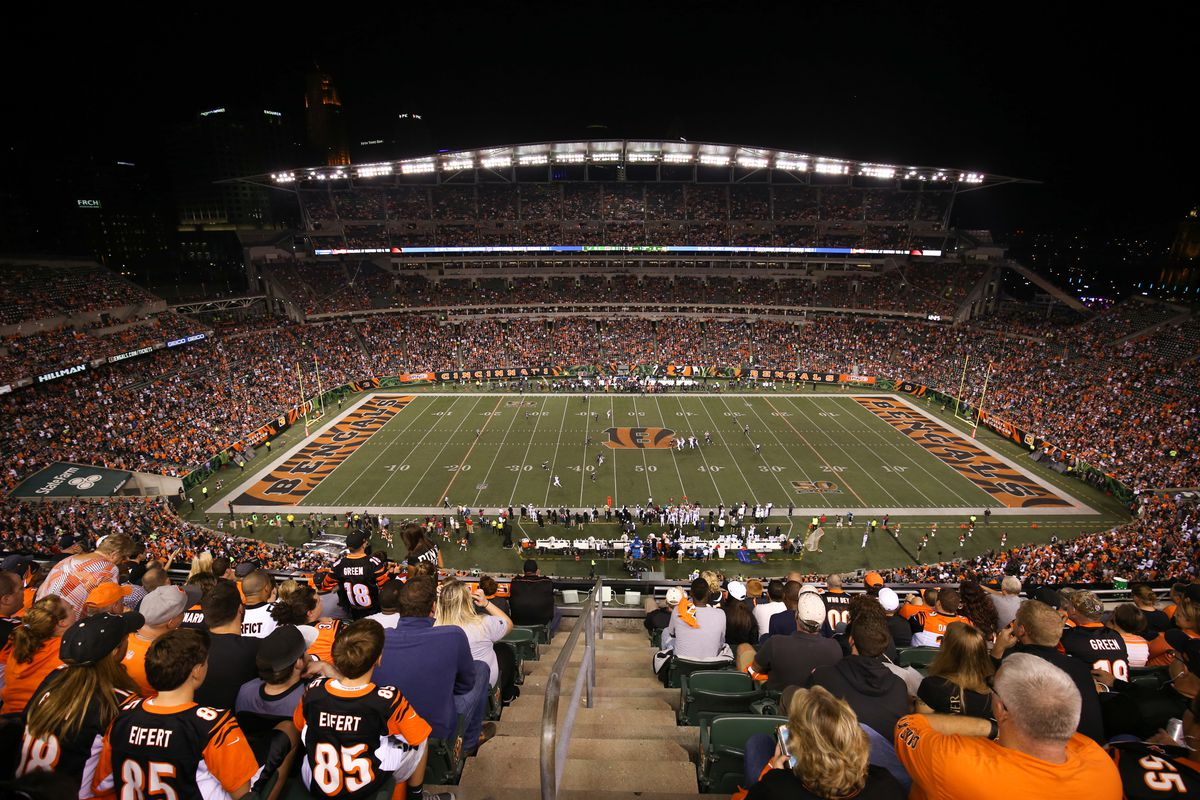 An overall view of Paul Brown Stadium during the NFL game against the Houston Texans and the Cincinnati Bengals on September 14 2017, at Paul Brown Stadium in Cincinnati, OH.