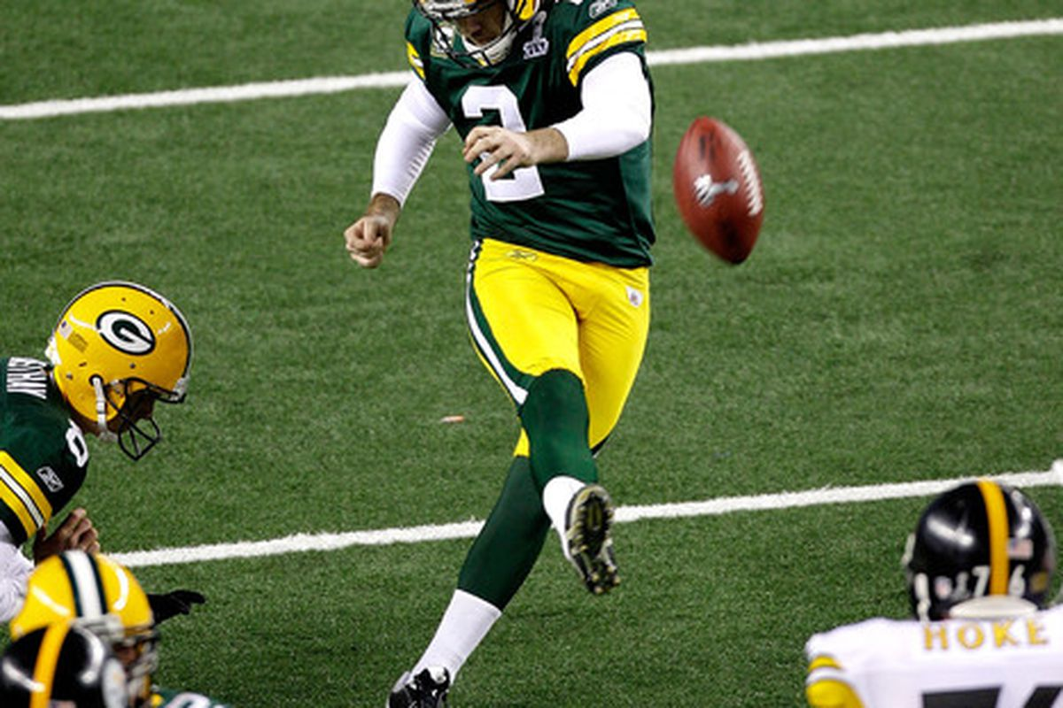 ARLINGTON TX - FEBRUARY 06:  Mason Crosby #2  of the Green Bay Packers kicks a field goal during the fourth quarter of Super Bowl XLV at Cowboys Stadium on February 6 2011 in Arlington Texas.  (Photo by Rob Carr/Getty Images)