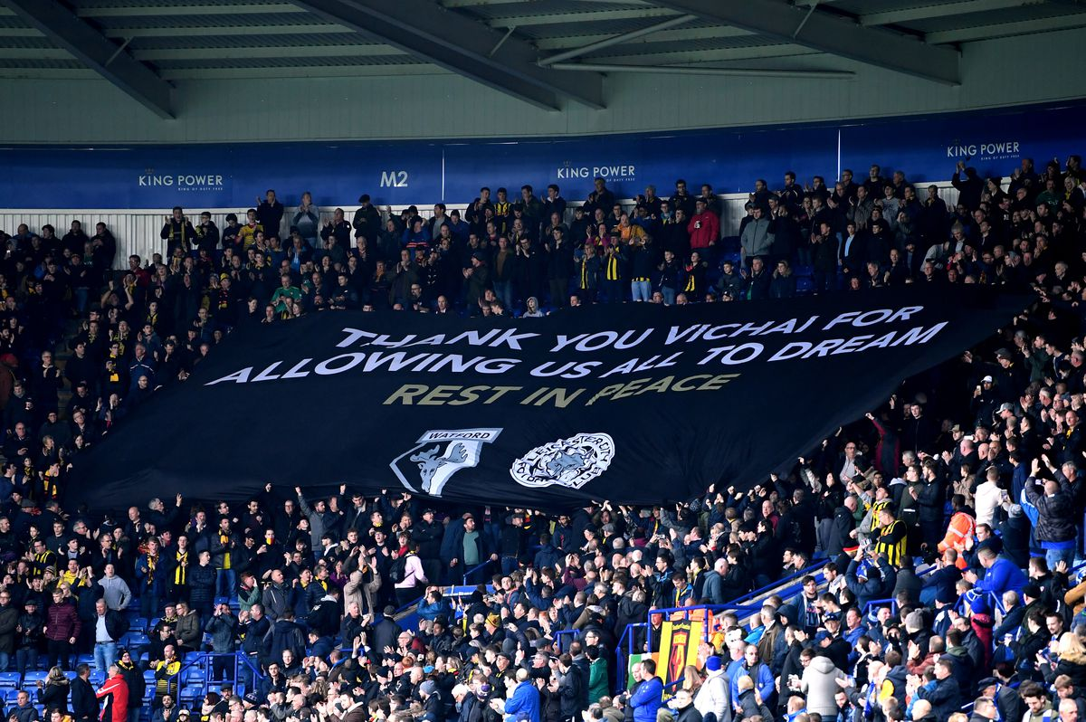 """Visiting Watford fans honor Leicester's fallen with a banner: """"Thank you Vichai for allowing us to dream. Rest in peace."""" - Premier League"""