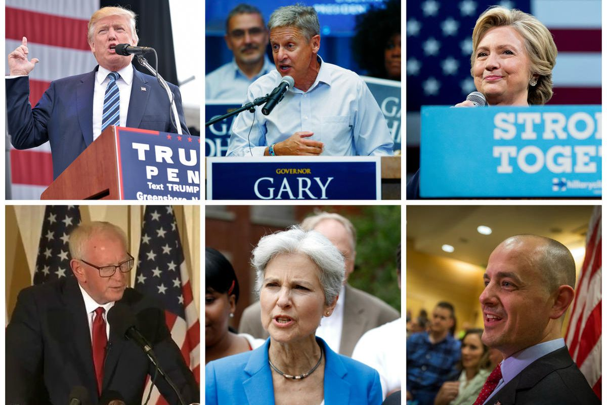 Photo credits, top from left to right: Laura Greene, The Enterprise via Associated Press; David Zalubowski, Associated Press; Andrew Harnik, Associated Press.  Photo credits, bottom from left to right: courtesy of the Darrell Castle campaign; Tae-Gyun Kim