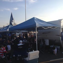 BYU fans have a pregame meal before the BYU vs. Boise State game.