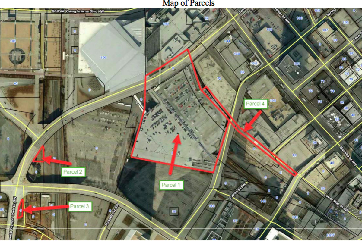 The Gulch pieces in question, which includes a chunk in the shadow of Philips Arena.