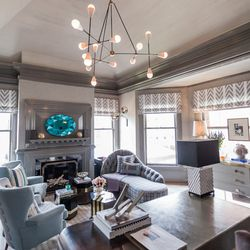 """Designed by Kelly Hohla of <a href=""""http://jeffersdesigngroup.com/"""">Jeffers Design Group</a>, this """"Maker's Mark Retreat"""" is a """"homage to the urban artisan."""" The dusty grey palette does well with small details like blackened steel, bronze and brass for li"""