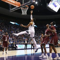 Brigham Young Cougars forward Yoeli Childs (23) pushes up a shot as BYU and Texas Southern play an NCAA basketball game in Provo at the Marriott Center on Saturday, Dec. 23, 2017. BYU won 73-52.