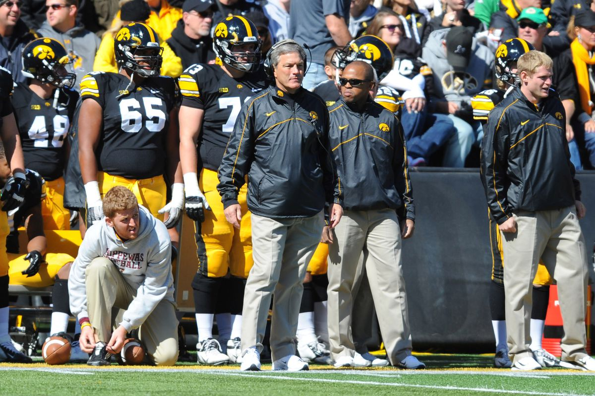 September 22, 2012; Iowa City, IA, USA; Iowa Hawkeyes head coach Kirk Ferentz tries to figure out why that Central Michigan kicker keeps trying to kick it along the ground. Mandatory Credit: Denny Medley-US PRESSWIRE
