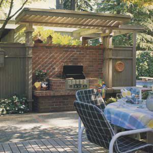 <p>This Portland, Oregon, dining area grew out of a simple need to replace some rotted decking near the pool. When landscape designer John Herbst, of John Herbst Jr. and Associates, was surveying the damage, the owner brought up the idea of a built-in cooking area.</p>