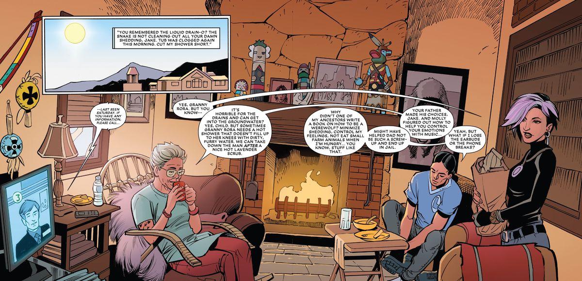 Granny Rora complains that Jake's werewolf fur is clogging up her shower drain, in Werewolf by Night #1, Marvel Comics (2020).