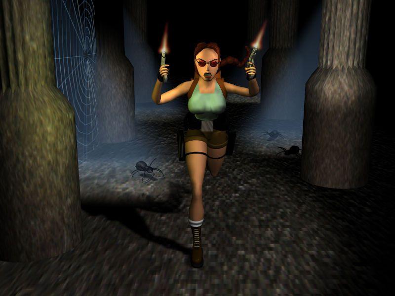 Promo art for Tomb Raider 2 with Lara Croft firing guns in the air