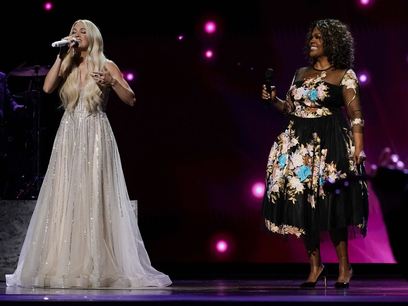 Carrie Underwood (left) and CeCe Winans perform at the 56th annual Academy of Country Music Awards on Saturday at the Grand Ole Opry in Nashville, Tennessee.