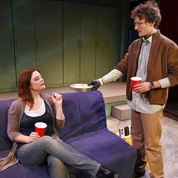 """Emily Burnworth, left, and David Fetzer star in Salt Lake Acting Company's production of the comedy """"Boom."""""""