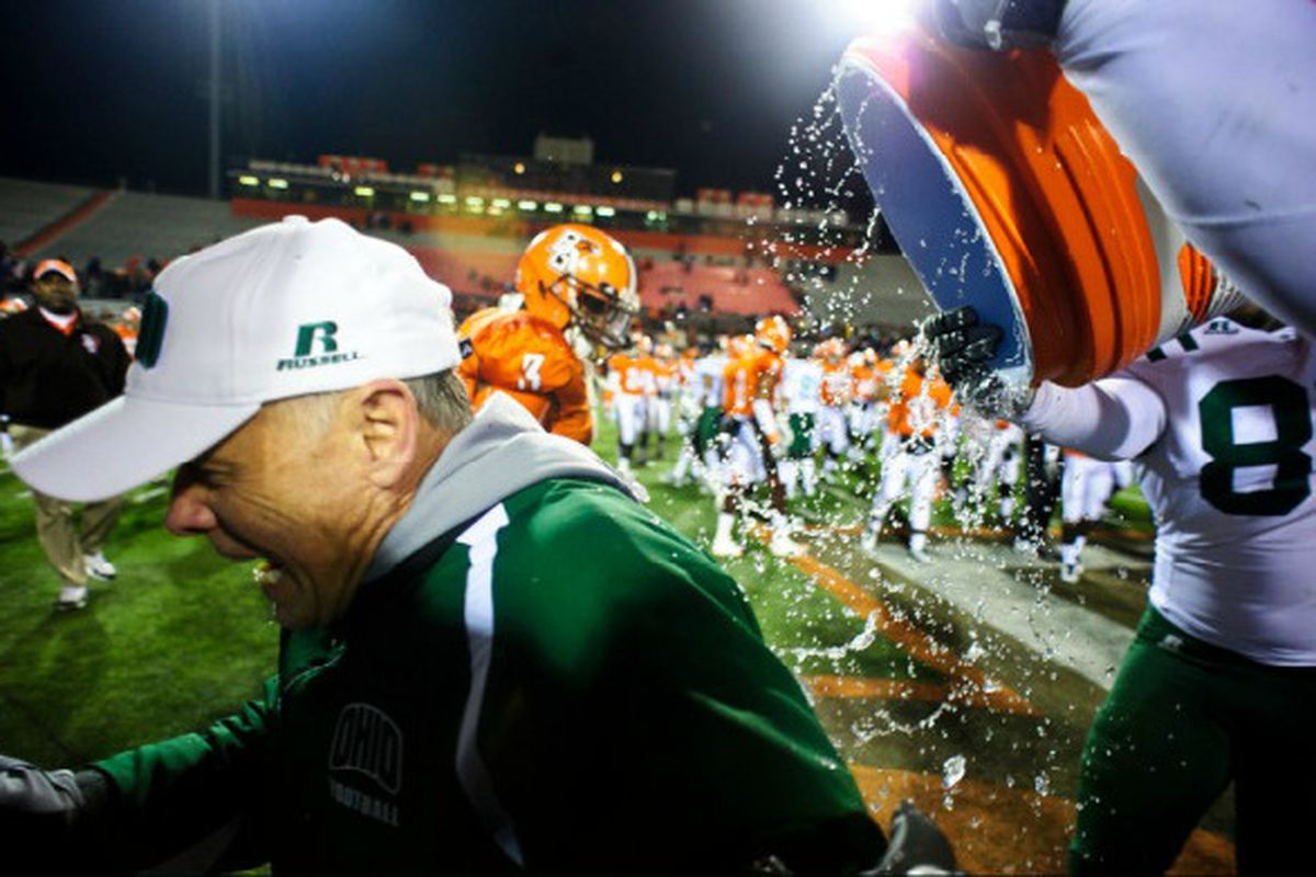 Good call by Solich's players - nothing like a freezing cold shower to celebrate a victory. <em>Ohio Bobcat Athletics</em>